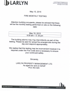 2015-05-15 - Monthly Fire Testing