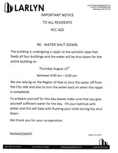 2015-08-10 - Water Shut Down