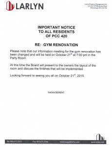 2015-10-15 - Gym Renovation Meeting Change
