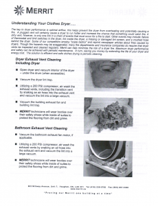 Dryer Vent Info Package 2 Of 2